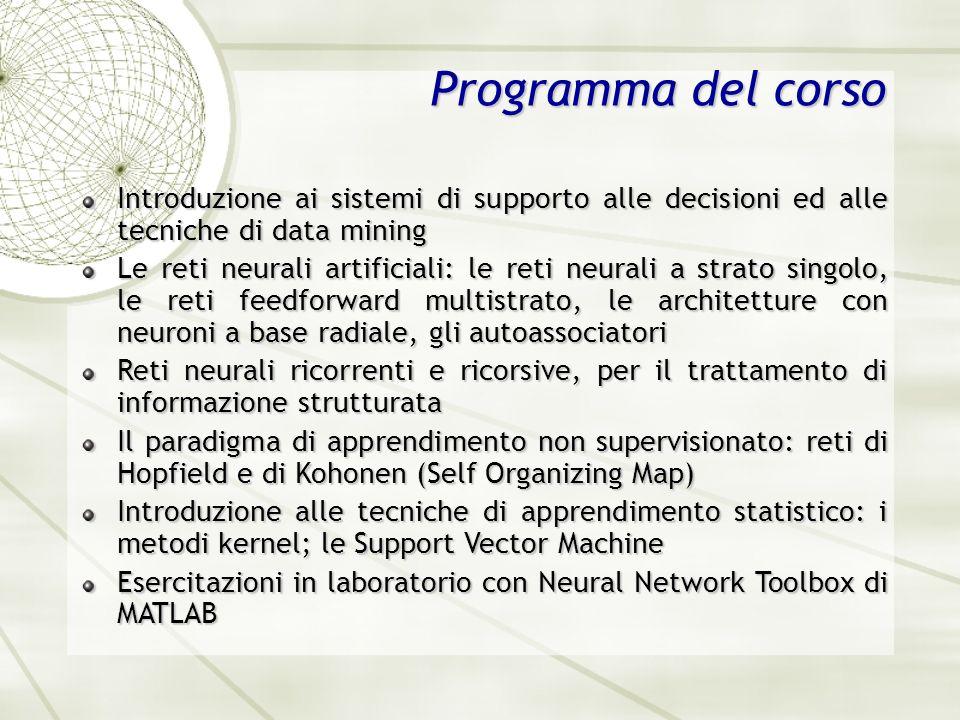 Programma del corso Introduzione ai sistemi di supporto alle decisioni ed alle tecniche di data mining.