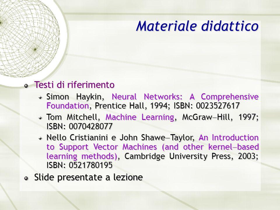 Materiale didattico Testi di riferimento Slide presentate a lezione