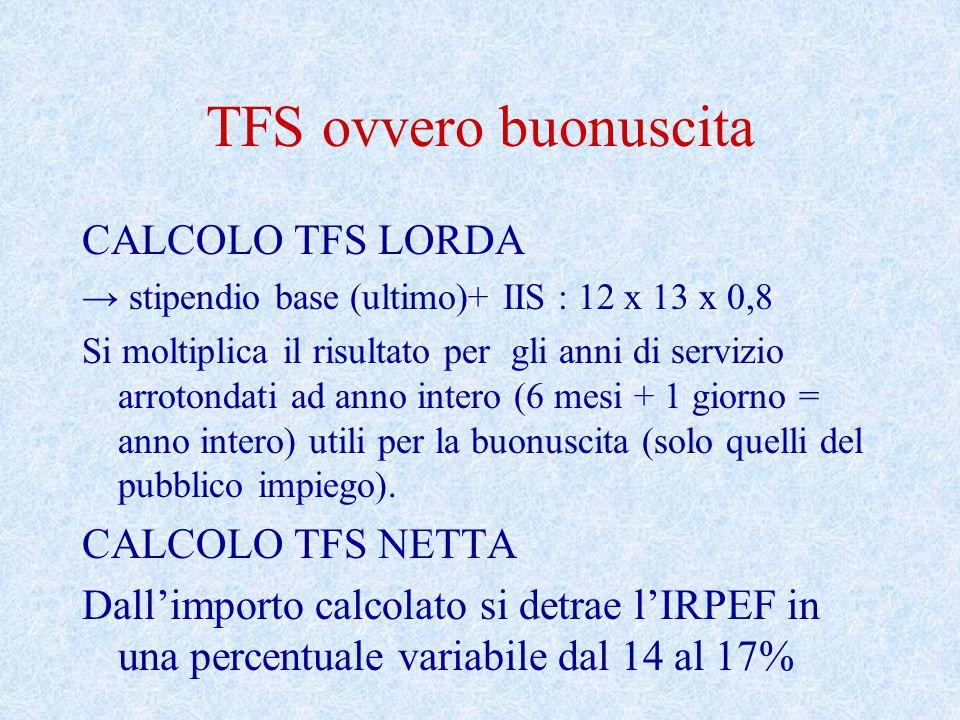 TFS ovvero buonuscita CALCOLO TFS LORDA CALCOLO TFS NETTA