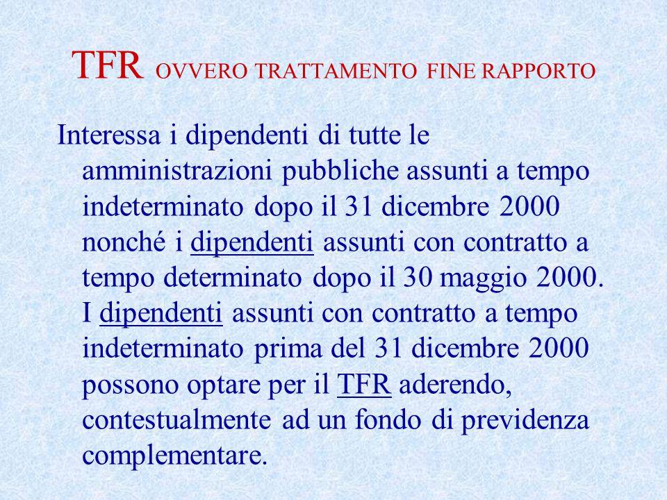 TFR OVVERO TRATTAMENTO FINE RAPPORTO