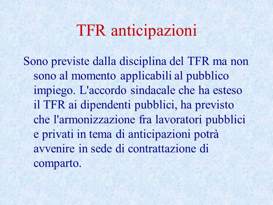 TFR anticipazioni