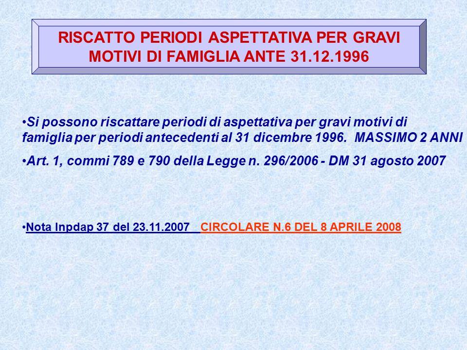 RISCATTO PERIODI ASPETTATIVA PER GRAVI MOTIVI DI FAMIGLIA ANTE 31. 12