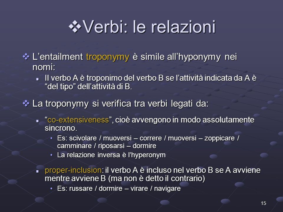 Verbi: le relazioni L'entailment troponymy è simile all'hyponymy nei nomi: