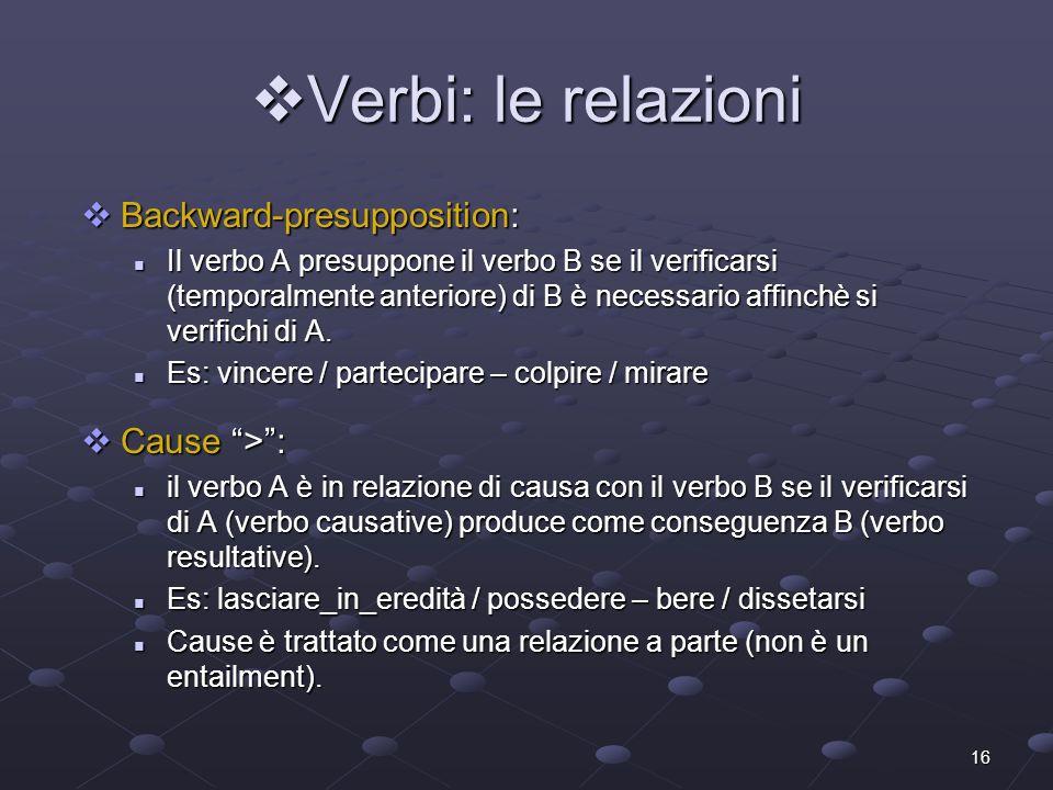 Verbi: le relazioni Backward-presupposition: Cause > :