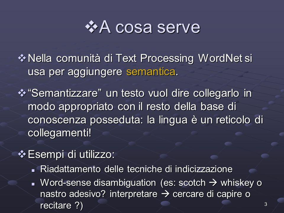 A cosa serveNella comunità di Text Processing WordNet si usa per aggiungere semantica.