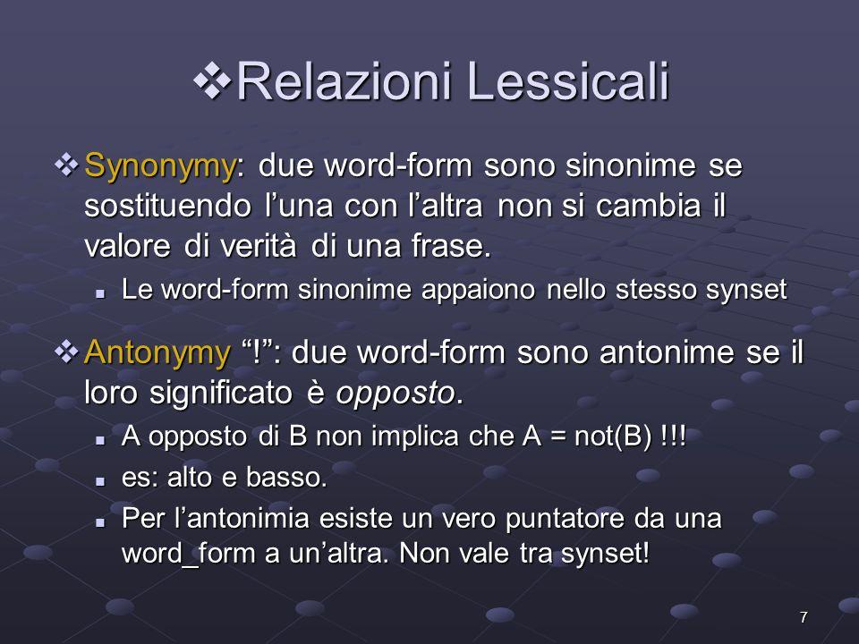 Relazioni Lessicali Synonymy: due word-form sono sinonime se sostituendo l'una con l'altra non si cambia il valore di verità di una frase.
