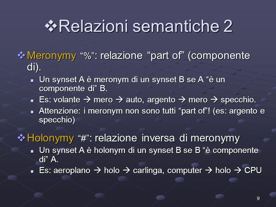 Relazioni semantiche 2 Meronymy % : relazione part of (componente di). Un synset A è meronym di un synset B se A è un componente di B.