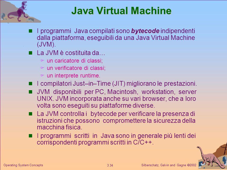 Java Virtual Machine I programmi Java compilati sono bytecode indipendenti dalla piattaforma, eseguibili da una Java Virtual Machine (JVM).