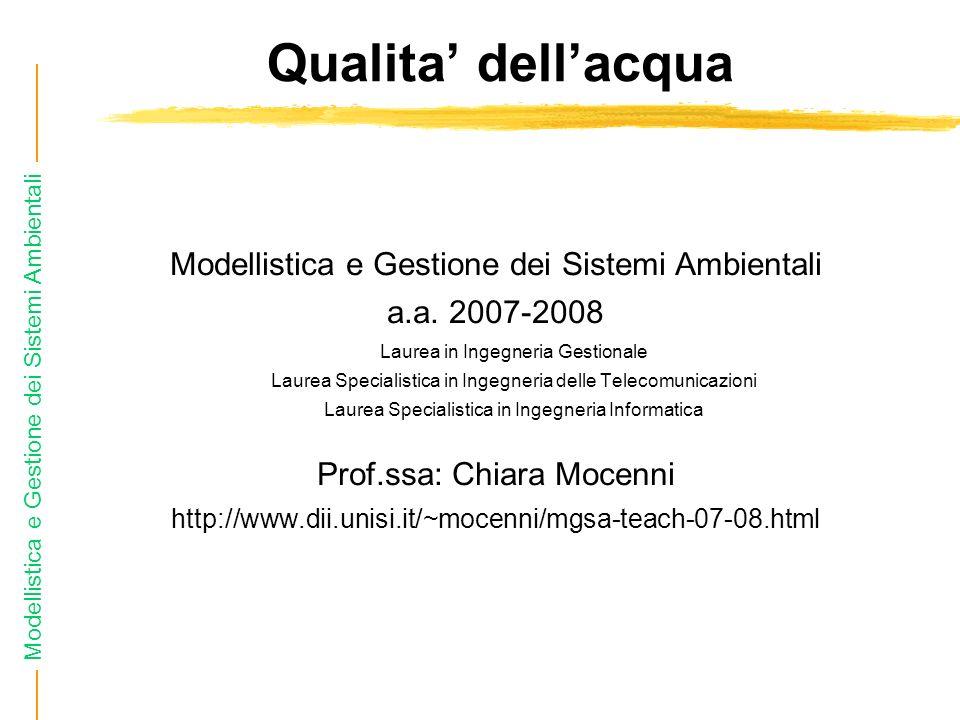 Qualita' dell'acqua Modellistica e Gestione dei Sistemi Ambientali