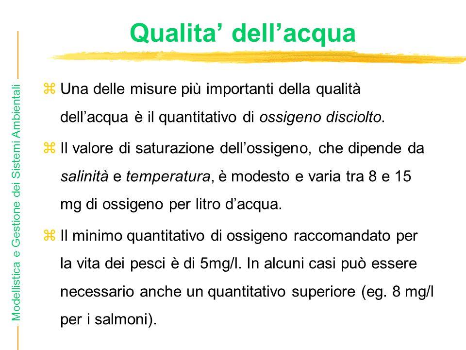 Qualita' dell'acquaUna delle misure più importanti della qualità dell'acqua è il quantitativo di ossigeno disciolto.