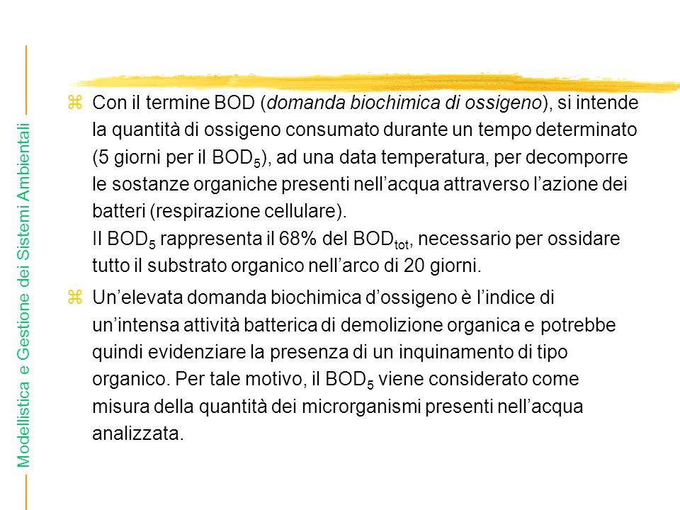 Con il termine BOD (domanda biochimica di ossigeno), si intende la quantità di ossigeno consumato durante un tempo determinato (5 giorni per il BOD5), ad una data temperatura, per decomporre le sostanze organiche presenti nell'acqua attraverso l'azione dei batteri (respirazione cellulare). Il BOD5 rappresenta il 68% del BODtot, necessario per ossidare tutto il substrato organico nell'arco di 20 giorni.