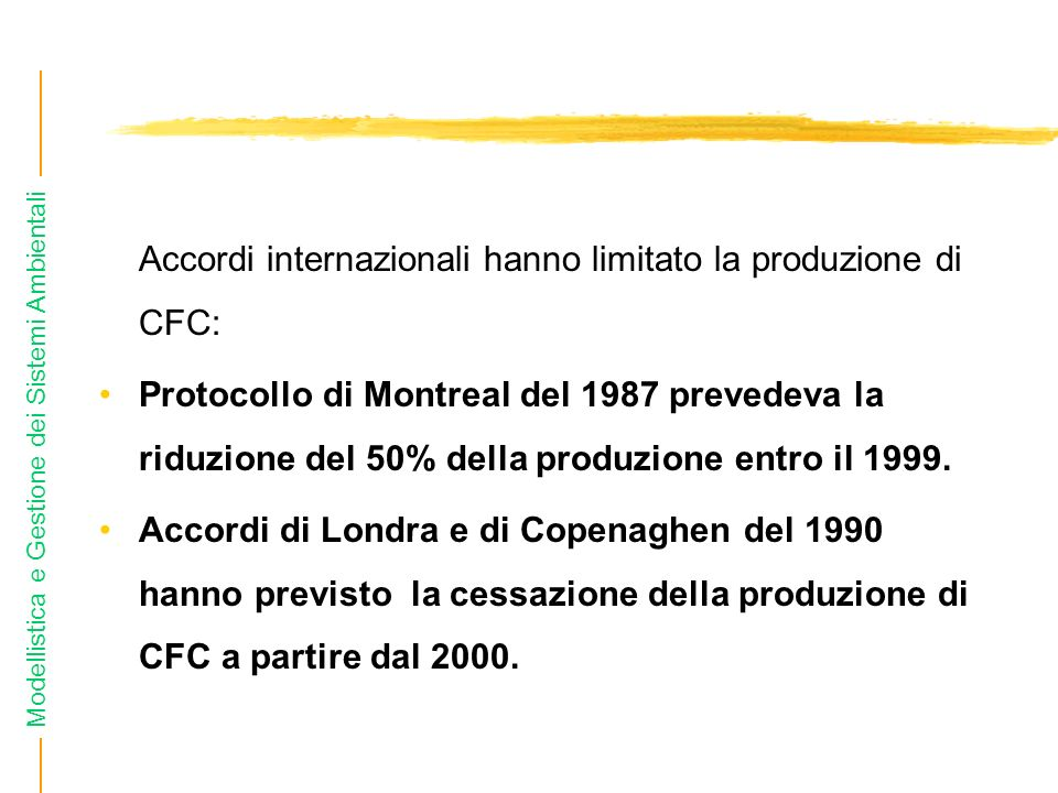 Accordi internazionali hanno limitato la produzione di CFC: