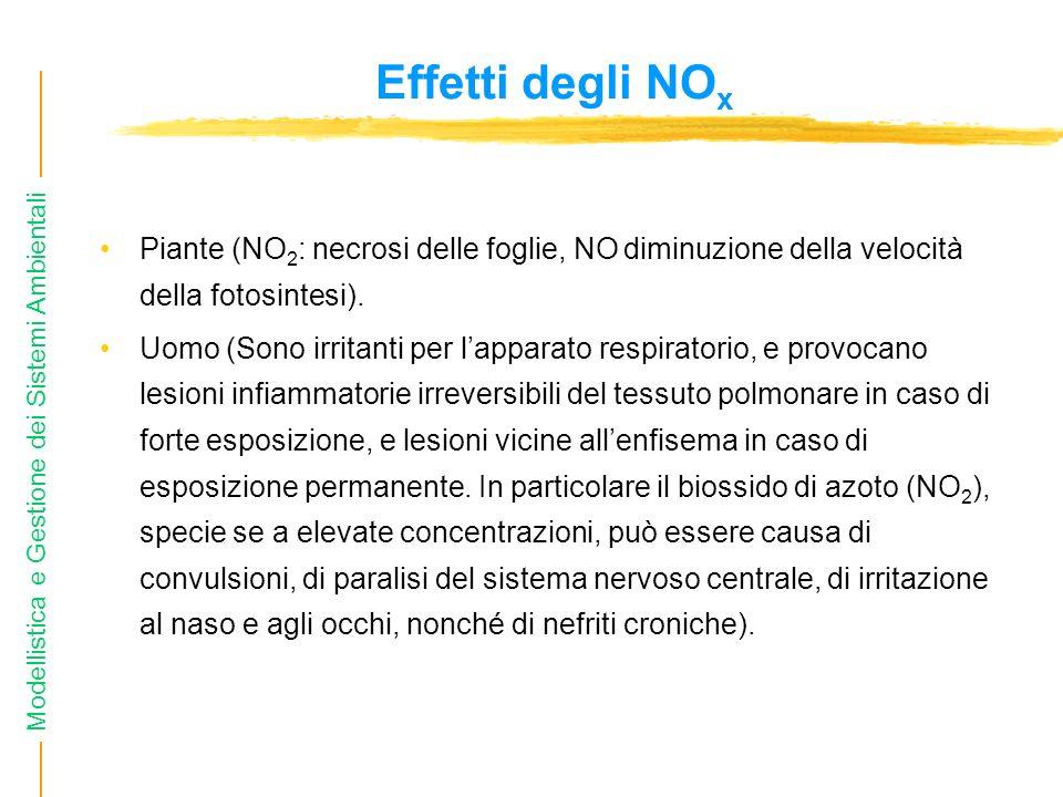 Effetti degli NOx Piante (NO2: necrosi delle foglie, NO diminuzione della velocità della fotosintesi).