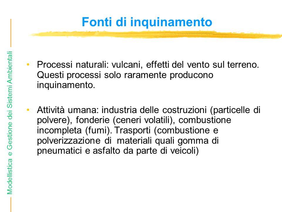 Fonti di inquinamento Processi naturali: vulcani, effetti del vento sul terreno. Questi processi solo raramente producono inquinamento.