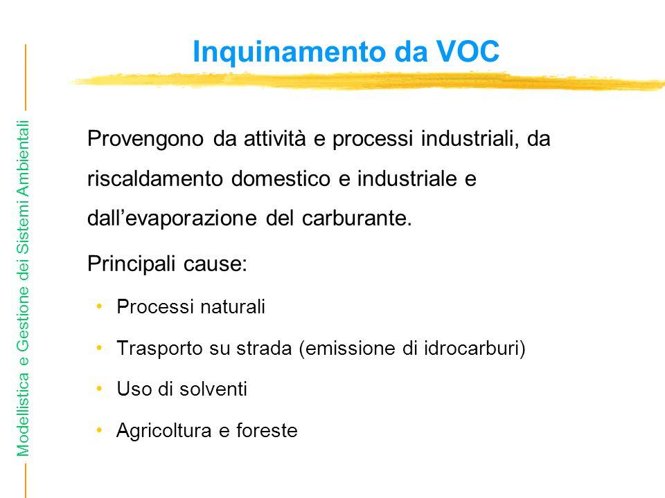 Inquinamento da VOC Provengono da attività e processi industriali, da riscaldamento domestico e industriale e dall'evaporazione del carburante.