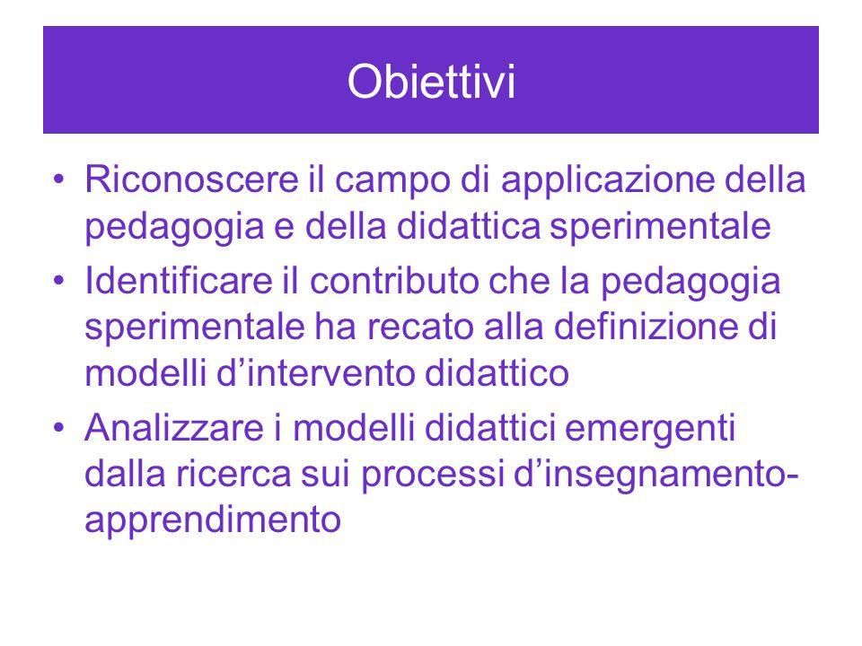 Obiettivi Riconoscere il campo di applicazione della pedagogia e della didattica sperimentale.