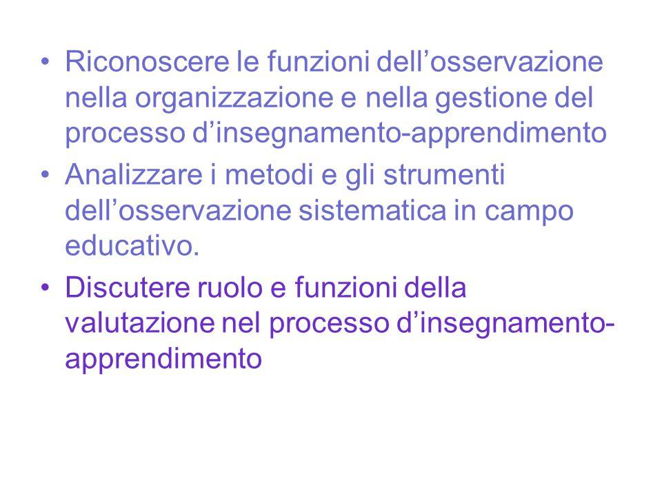 Riconoscere le funzioni dell'osservazione nella organizzazione e nella gestione del processo d'insegnamento-apprendimento