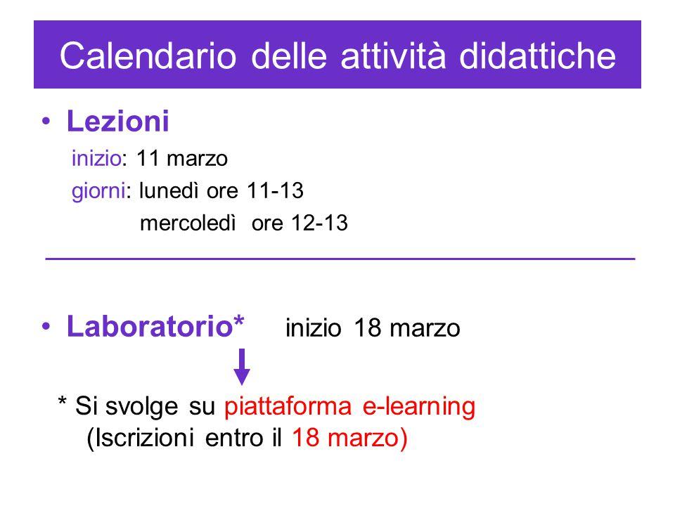 Calendario delle attività didattiche