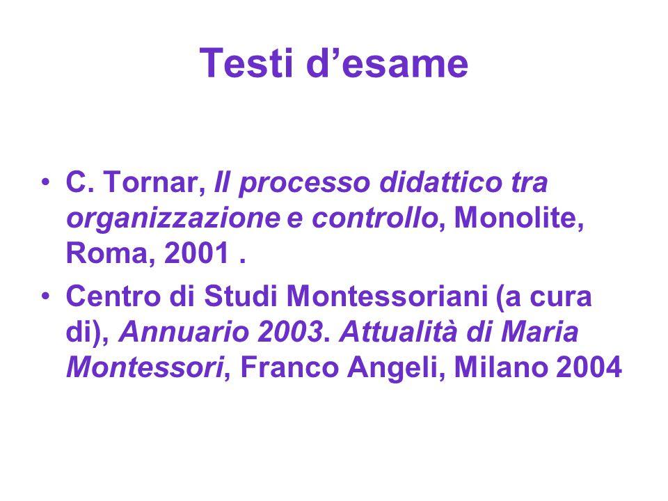 Testi d'esame C. Tornar, Il processo didattico tra organizzazione e controllo, Monolite, Roma, 2001 .