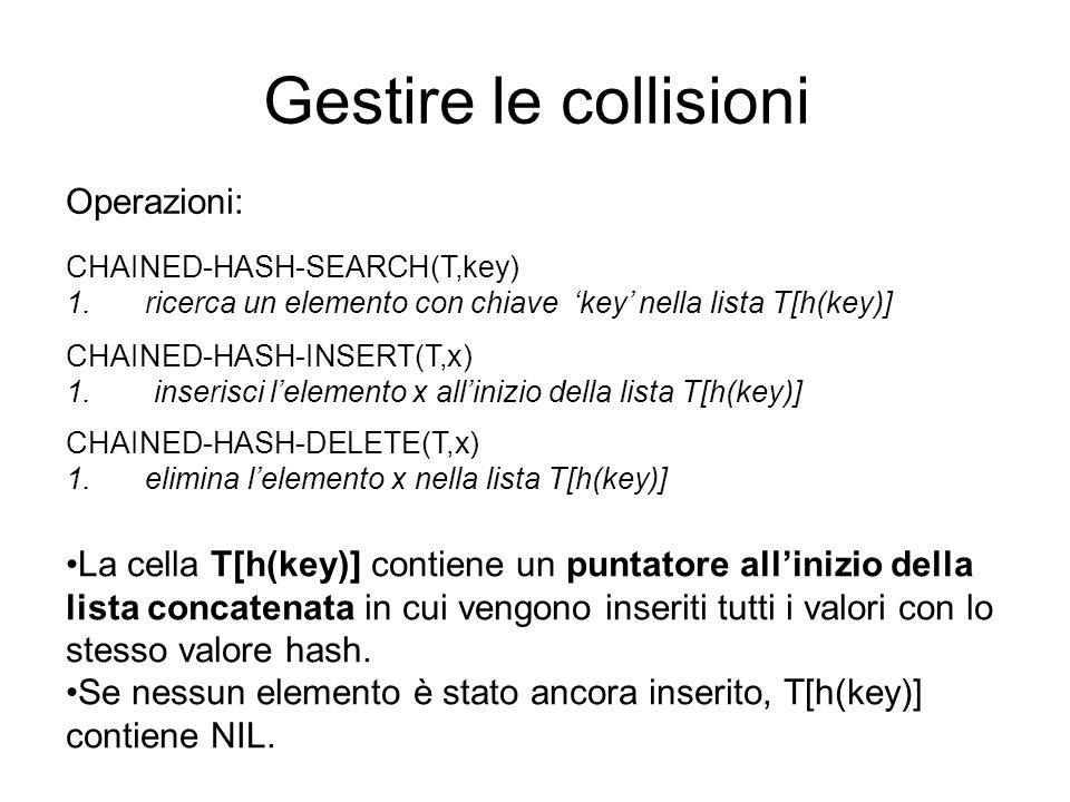 Gestire le collisioni Operazioni: