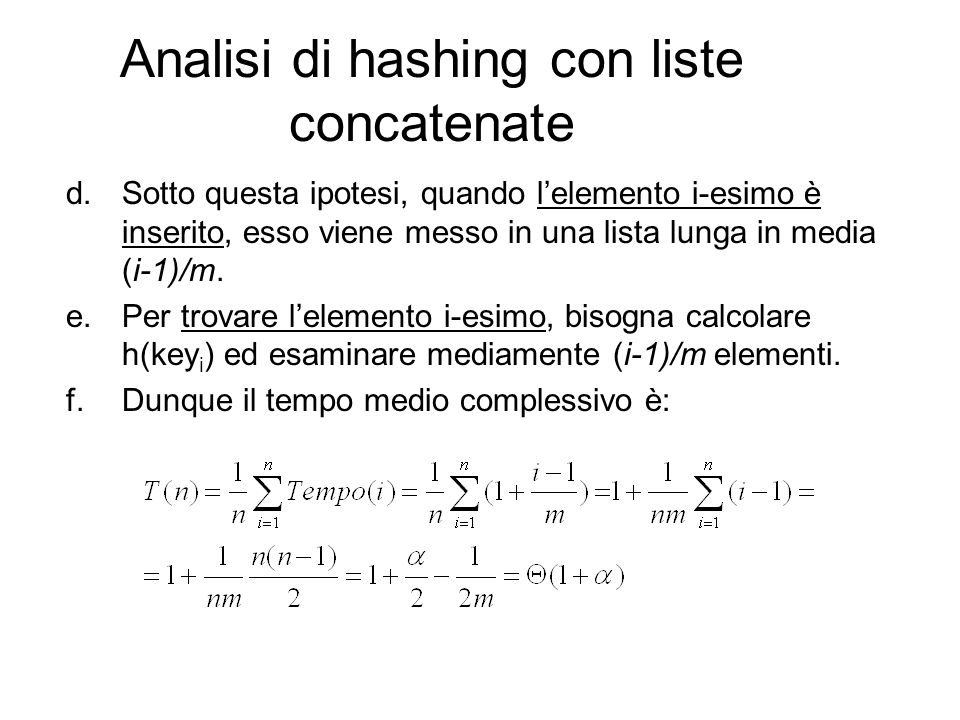 Analisi di hashing con liste concatenate