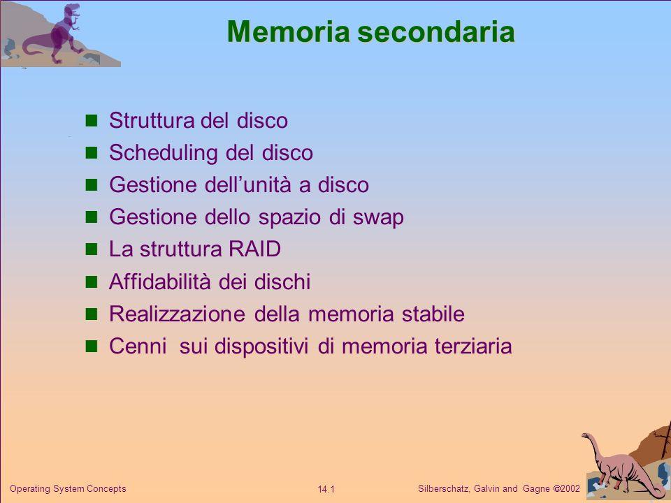Memoria secondaria Struttura del disco Scheduling del disco