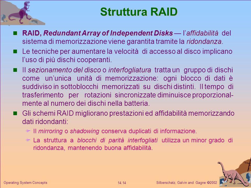 Struttura RAID RAID, Redundant Array of Independent Disks — l'affidabilità del sistema di memorizzazione viene garantita tramite la ridondanza.