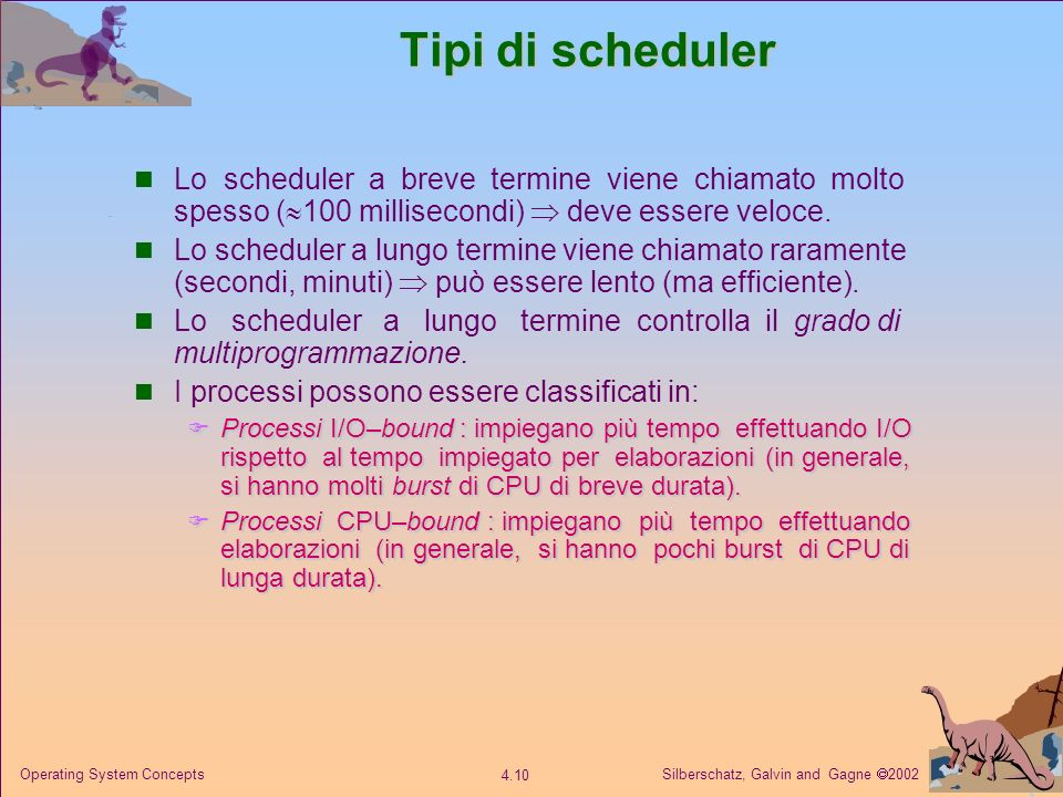 Tipi di scheduler Lo scheduler a breve termine viene chiamato molto spesso (100 millisecondi)  deve essere veloce.
