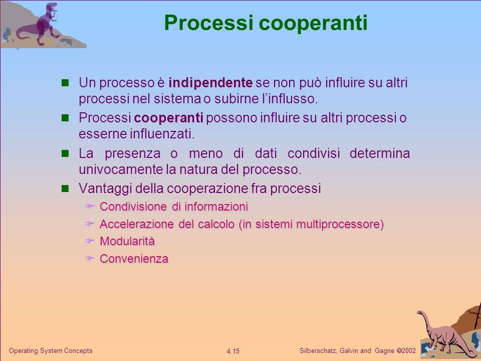 Processi cooperanti Un processo è indipendente se non può influire su altri processi nel sistema o subirne l'influsso.