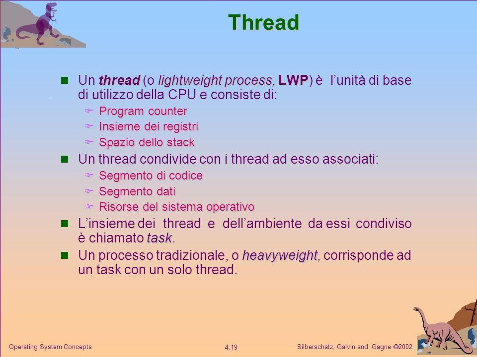 Thread Un thread (o lightweight process, LWP) è l'unità di base di utilizzo della CPU e consiste di: