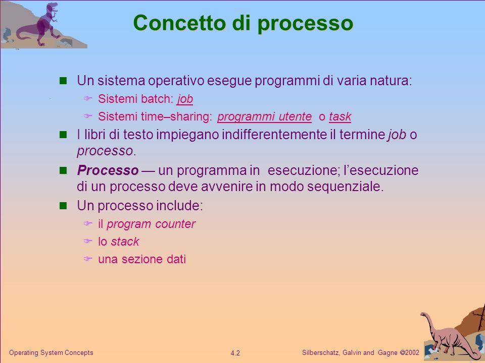 Concetto di processo Un sistema operativo esegue programmi di varia natura: Sistemi batch: job. Sistemi time–sharing: programmi utente o task.