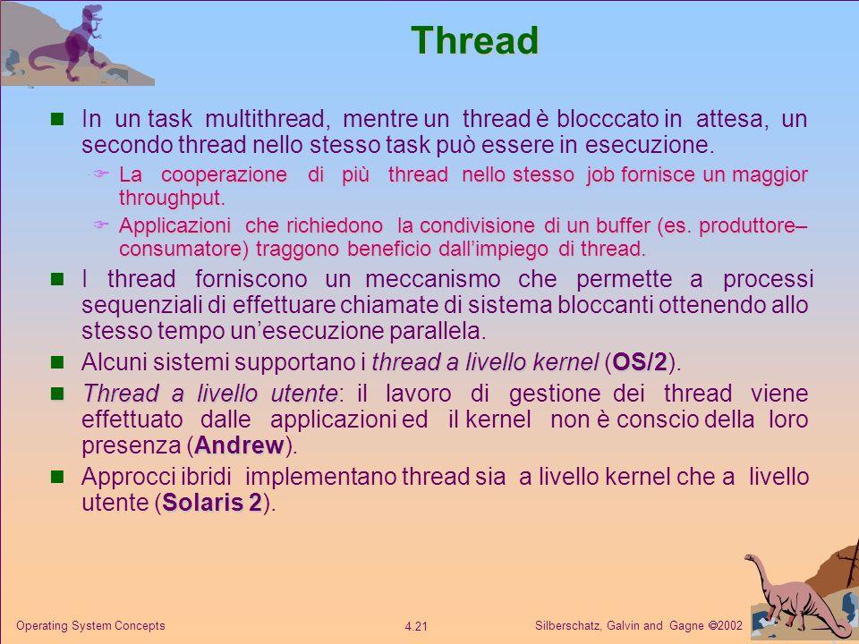 Thread In un task multithread, mentre un thread è blocccato in attesa, un secondo thread nello stesso task può essere in esecuzione.