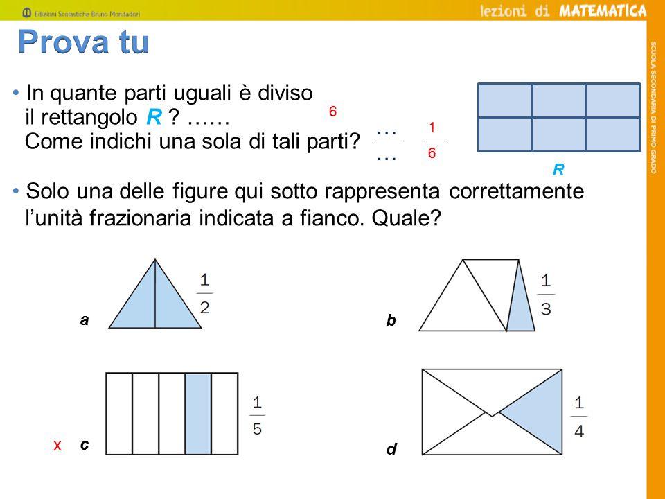 Prova tu • In quante parti uguali è diviso il rettangolo R ……