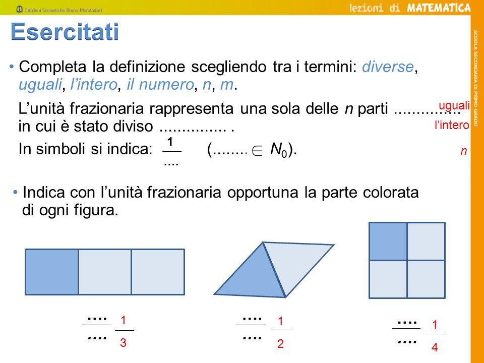 Esercitati • Completa la definizione scegliendo tra i termini: diverse, uguali, l'intero, il numero, n, m.