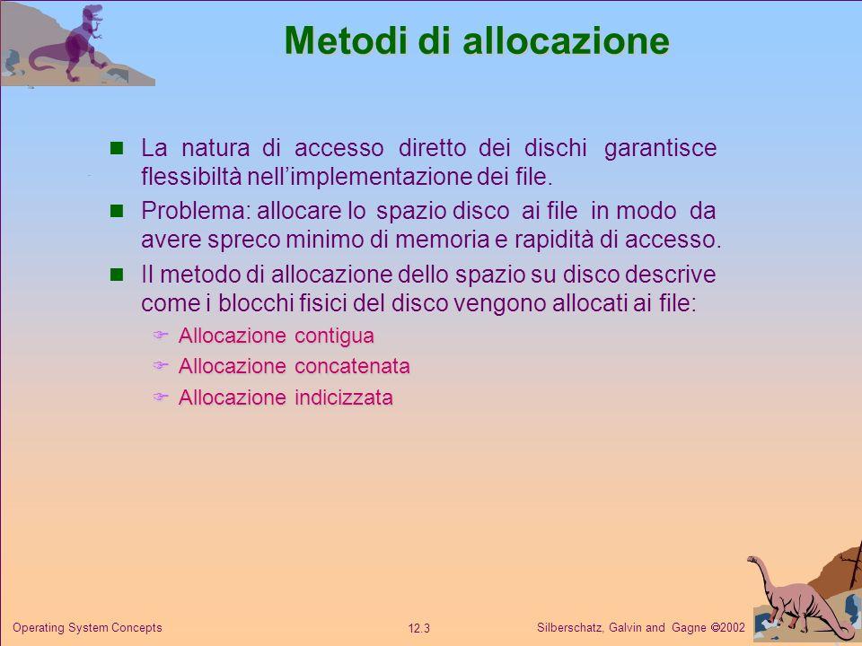 Metodi di allocazione La natura di accesso diretto dei dischi garantisce flessibiltà nell'implementazione dei file.