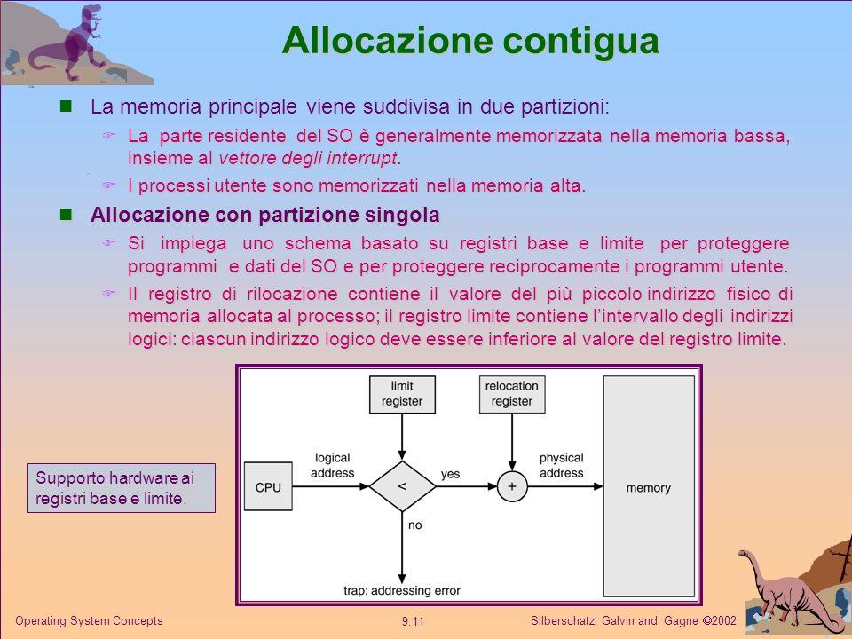 Allocazione contigua La memoria principale viene suddivisa in due partizioni: