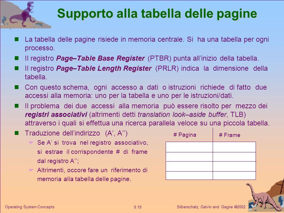Supporto alla tabella delle pagine
