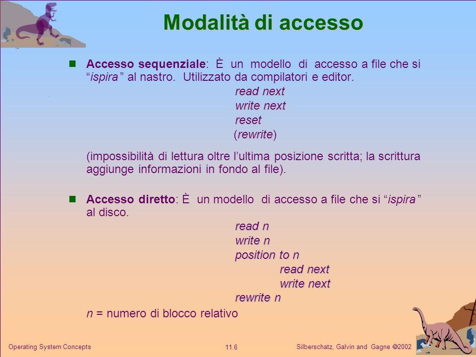 Modalità di accesso Accesso sequenziale: È un modello di accesso a file che si ispira al nastro. Utilizzato da compilatori e editor.