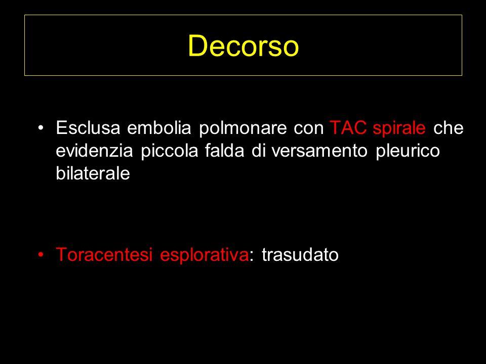 Decorso Esclusa embolia polmonare con TAC spirale che evidenzia piccola falda di versamento pleurico bilaterale.
