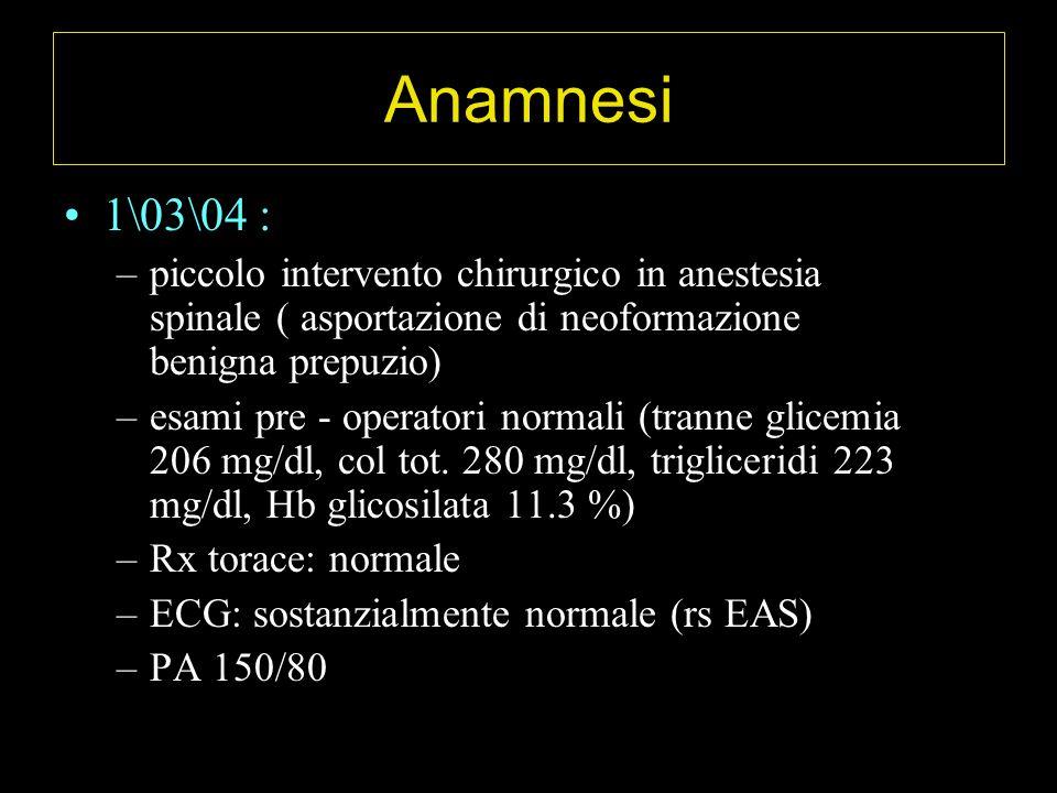 Anamnesi 1\03\04 : piccolo intervento chirurgico in anestesia spinale ( asportazione di neoformazione benigna prepuzio)
