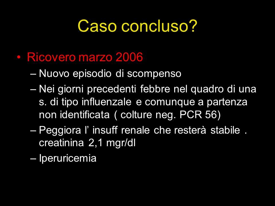 Caso concluso Ricovero marzo 2006 Nuovo episodio di scompenso