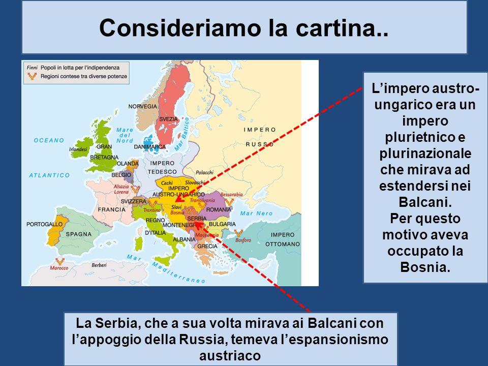 Consideriamo la cartina.. Per questo motivo aveva occupato la Bosnia.