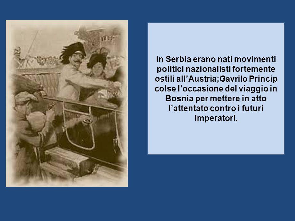 In Serbia erano nati movimenti politici nazionalisti fortemente ostili all'Austria;Gavrilo Princip colse l'occasione del viaggio in Bosnia per mettere in atto l'attentato contro i futuri imperatori.
