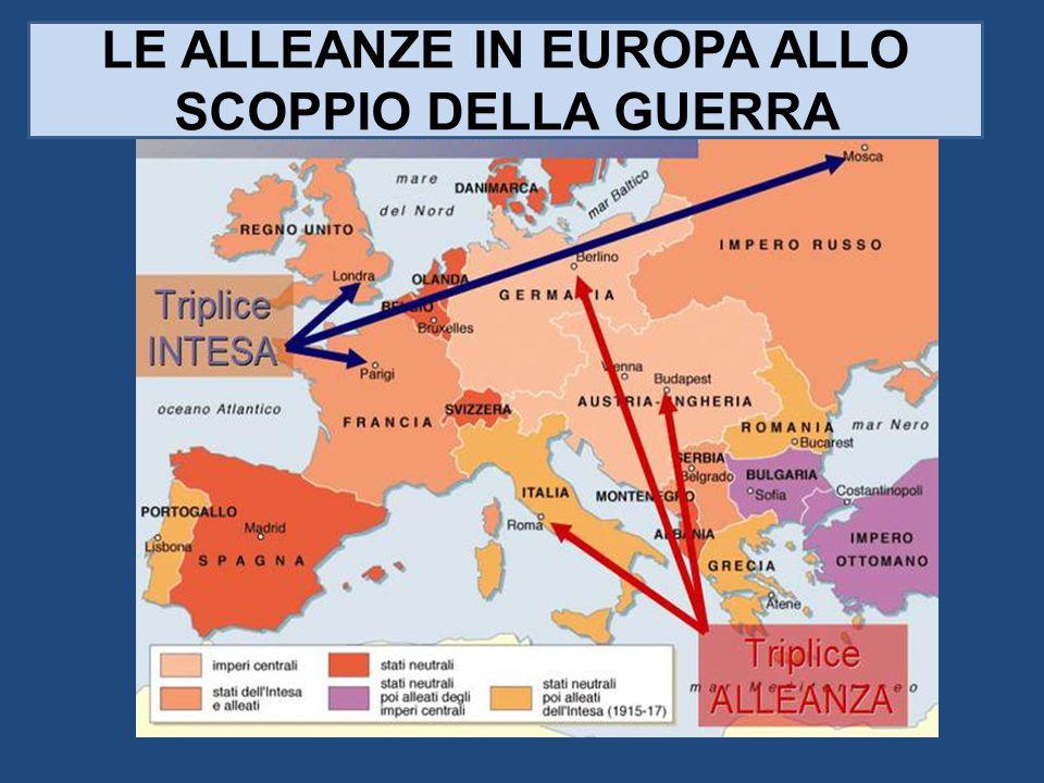 LE ALLEANZE IN EUROPA ALLO SCOPPIO DELLA GUERRA