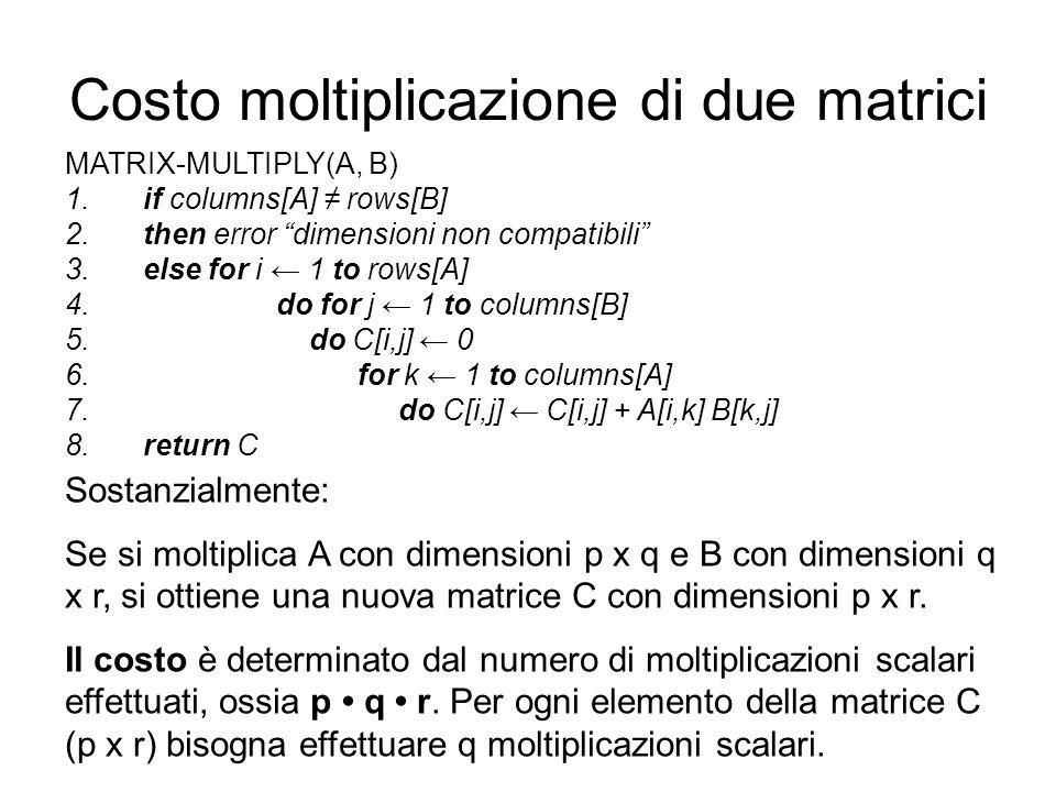 Costo moltiplicazione di due matrici