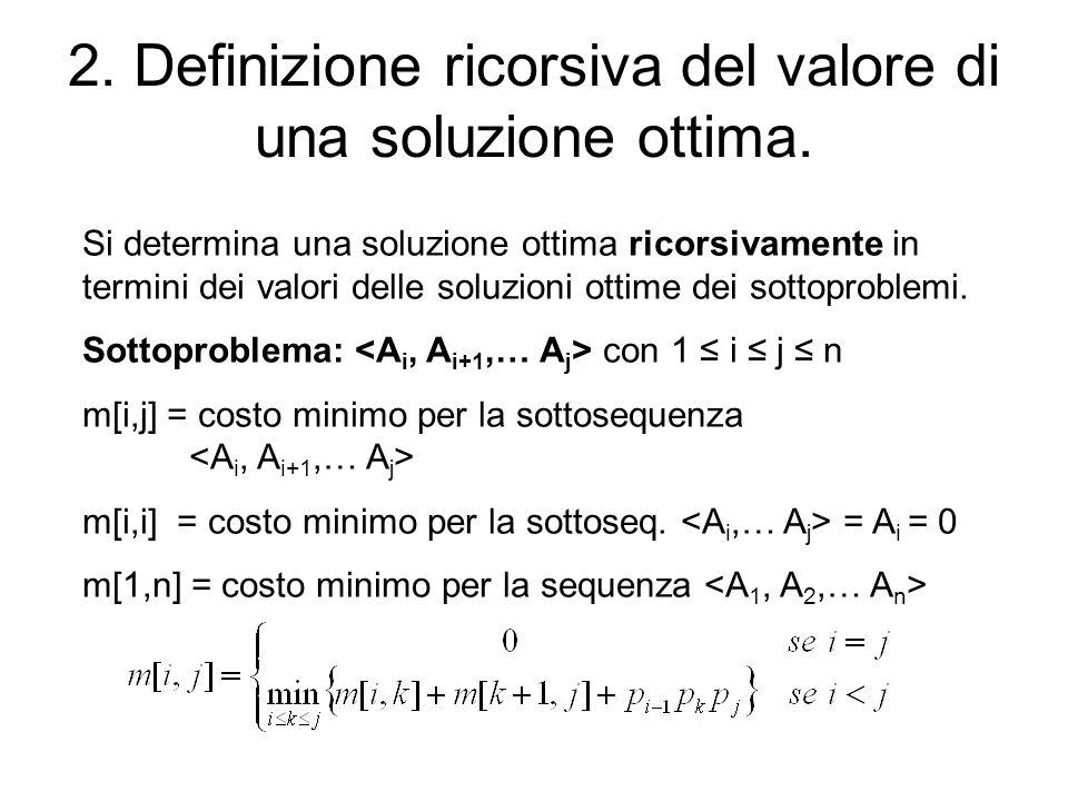 2. Definizione ricorsiva del valore di una soluzione ottima.