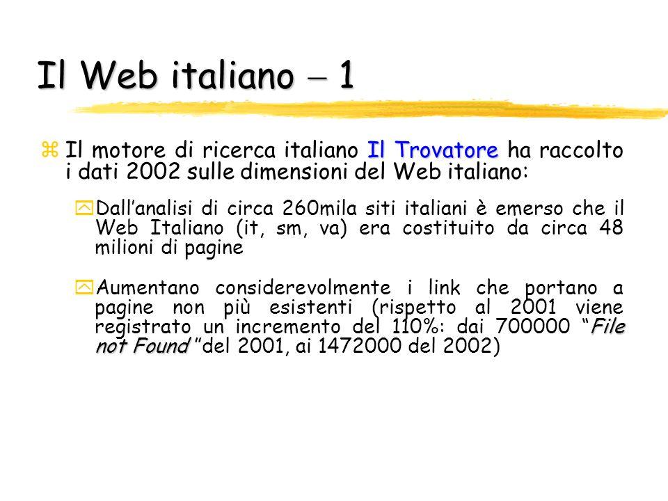 Il Web italiano  1 Il motore di ricerca italiano Il Trovatore ha raccolto i dati 2002 sulle dimensioni del Web italiano: