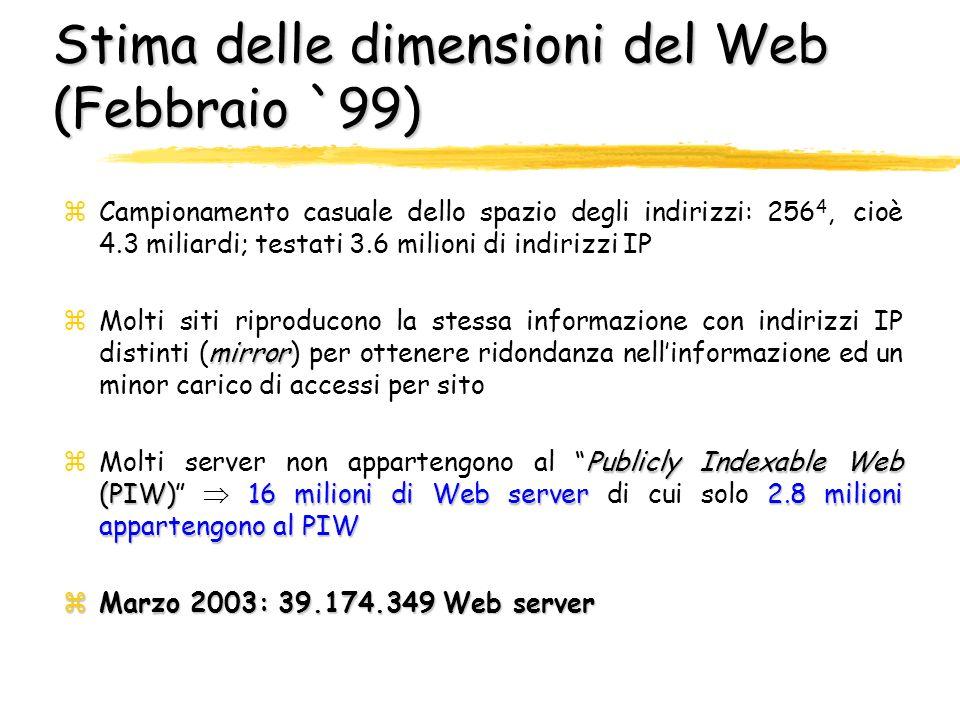 Stima delle dimensioni del Web (Febbraio `99)