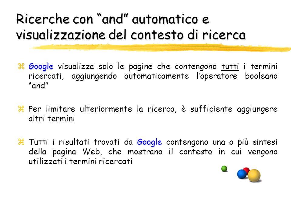 Ricerche con and automatico e visualizzazione del contesto di ricerca