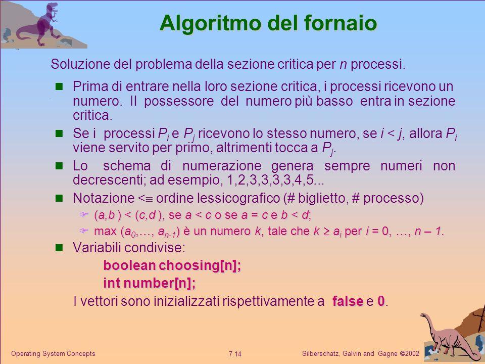 Algoritmo del fornaio Soluzione del problema della sezione critica per n processi.